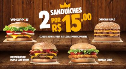 2 Sanduíches por R$15,00