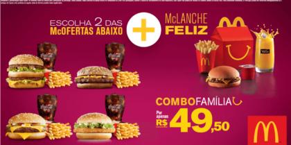 Combo Família – 2 McOfertas Médias + 1 McLanche Feliz por R$49,50