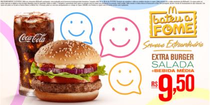 Extra Burger Salada + Bebida Média por R$ 9,50 - Bateu a Fome das 15h às 18h