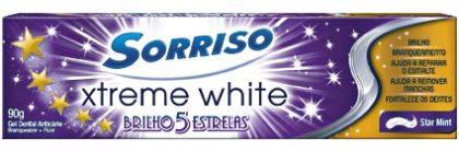 COMPRE 1 E GANHE 30% NA 2º UNID: Creme Dental SORRISO Xtreme White Brilho 5 Estrelas 90g