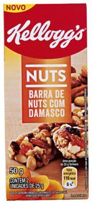Cereal em Barra de Nuts Damasco KELLOGG´S 50g Caixa com 2 Unidades 25g Cada!