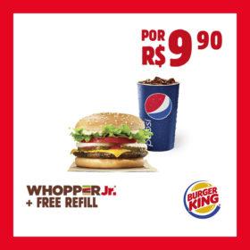 WHOPPER Jr.® + FREE REFILL por R$9,90