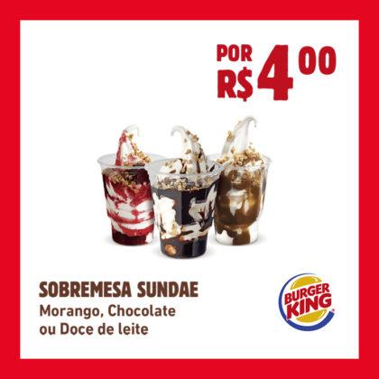 SOBREMESA SUNDAE por R$4,00: Morango, Chocolate ou Doce de Leite