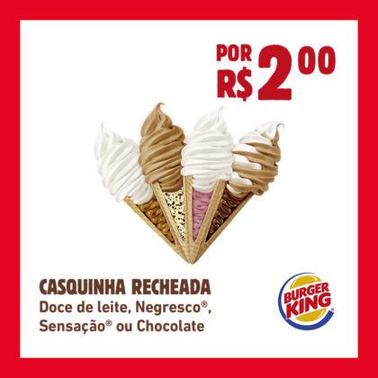 CASQUINHA RECHEADA por R$2,00: Doce de Leite, Negresco®, Sensação® ou Chocolate