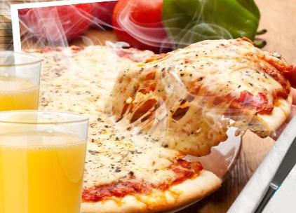 Pizza Grande com 40 opções de sabores à sua escolha + 2 Sucos de Laranja!