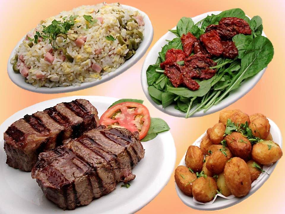 Para 2 pessoas: Carnes + Salada + 2 Acompanhamentos + 2 Sobremesas