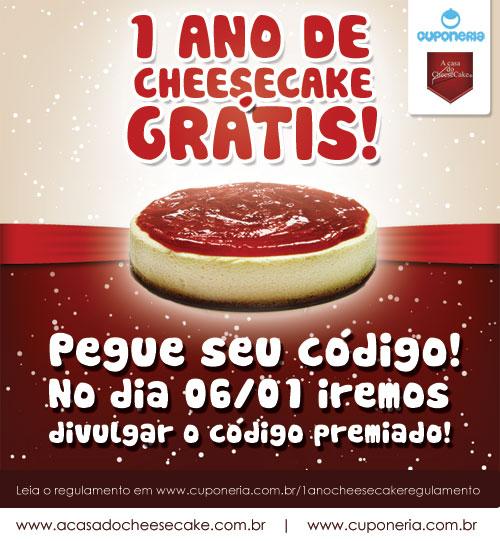 Participe: Você pode ganhar 1 ANO DE CHEESECAKE GRÁTIS!