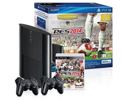 Só Hoje! PlayStation 3 Slim 250GB + 2 Controles sem Fio Dualshock 3 + PES 14 - Sony!