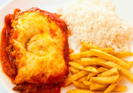 Filetto alla Parmigiana com Arroz e Batatas Fritas para 1, 2 ou 4 pessoas