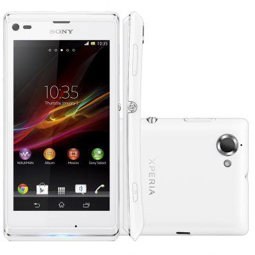 Celular Smartphone Desbloqueado Sony Xperia L C2104 Branco Android 4 1 Camera 8 0mp  1 Ghz Tela 4 3 3g NfcMemoria Interna 8gb