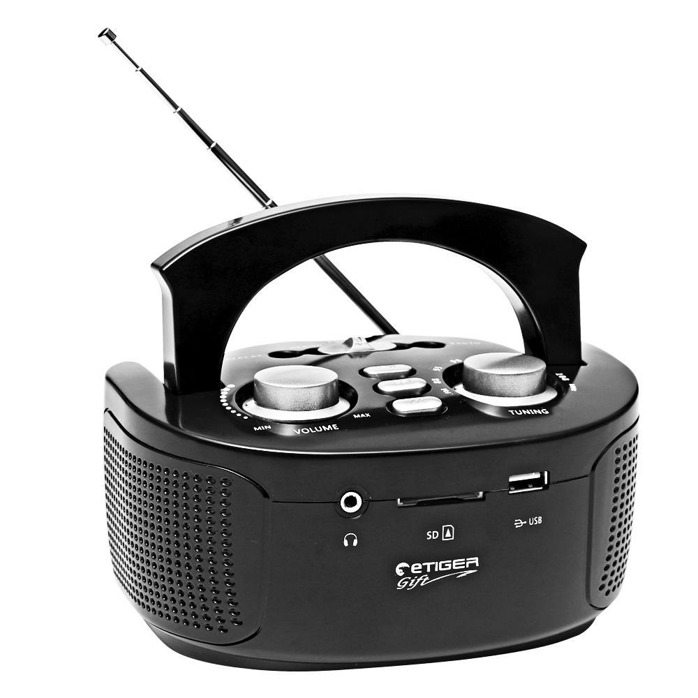 Boombox Etiger Bmx 108 Preto Radio Fm Entradas Usb Sd Card P Reproducao Mp3 e Saida P2 3 5mm P Fone de Ouvido