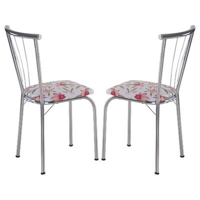 Cadeira Ca 210 2 Pecas Branco Floral Rosa