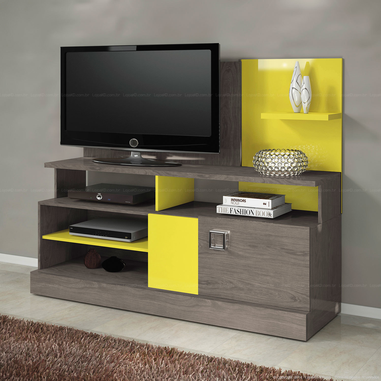 Rack Para Tv 2 Portas Mundi Cinza Rovere Amarelo