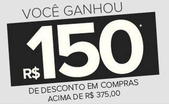 Cupom cumulativo de R$150 de desconto em compras acima de R$375!