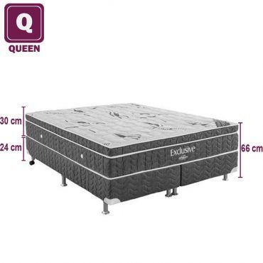 Cama Box Colchao Queen Ortobom Exclusive de Molas Nanolastic com Euro Pillow Top e Tecido Matelasse
