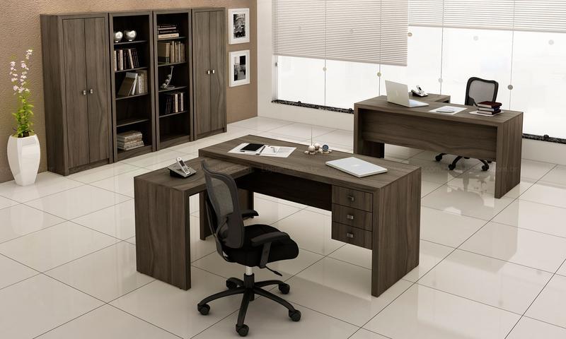 Escritorio Completo com Mesas Para Computador Estantes e Armarios com Portas Carvalho