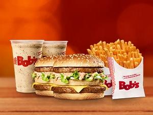 Cupons de desconto Bob's 2 Big Bob M + 2 Batatas Palito M + 2 Shakes P por R$28,00!