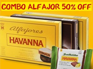 Cupom de desconto Havanna combo alfajor 50% OFF