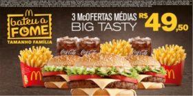 3 McOfertas Média Big tasty R$ 49,50 - Bateu a Fome das 15h às 18h