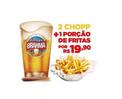 2 Chopp Brahma Claro 350ml + 1 Porção de Batata Frita por apenas R$19,90! [18+ anos]