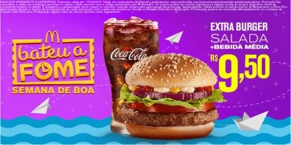 Extra Burger Salad + Bebida Média por R$ 9,50 – Bateu a Fome