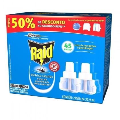 Inseticida Elétrico RAID Líquido 45 Noites 32,9ml c/ 2 Refil 50 % de Desconto no 2º Refil!