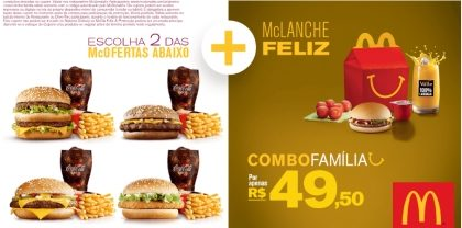 Combo Família – 2 McOfertas Médias + 1 McLanche Feliz por R$ 49,50