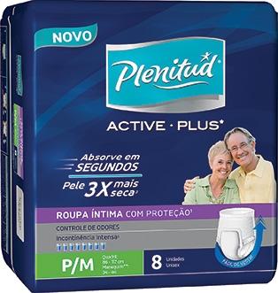 Fralda PLENITUD Geriátrica Active Plus Masculino Pequena Média Pacote com 8 Unidades!