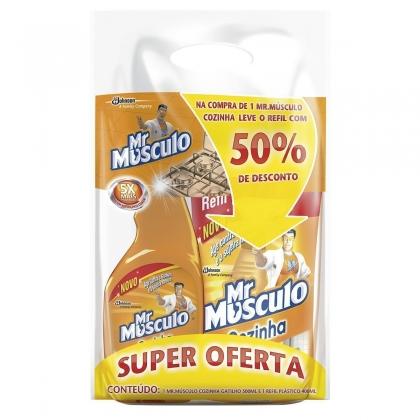 30% de desconto:Limpador Desengordurante Cozinha Mr MUSCULO Aparelho 500ml Grátis 1 sachê