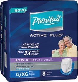 30% de desconto: Fralda PLENITUD Geriátrica Active Plus Masculino Grande Extra Grande c/ 8