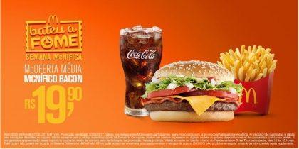 McOferta Média McNífico Bacon R$ 19,90 - Bateu a Fome