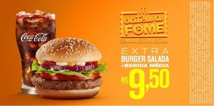 Extra Burger Salada + Bebida Média R$ 9,50 – Bateu a Fome