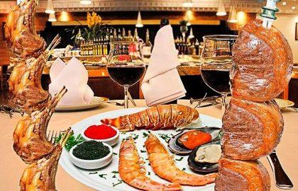 Rodízio de Carnes Nobres com Buffet de Frutos do Mar (almoço e jantar)