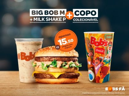 Big Bob M + Milk Shake P + Copo Exclusivo Rock in Rio por R$ 15,50