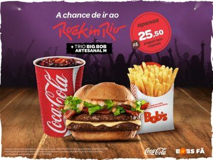 Big Bob Artesanal M + Batata Palito M + Refri M por R$ 25,50