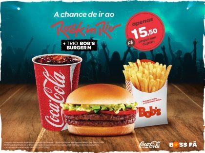 Bob's Burger M + Batata Frita M + Refri M por R$ 15,50