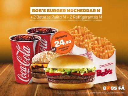 Cheddar M + Bob's Burguer M + 2 Batatas M + 2 Refri M por R$ 24,90