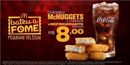Chicken McNuggets 4 unidades + Refrigerante Pequeno R$8 - Bateu a Fome
