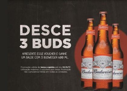 GRÁTIS: Balde com 3 Cervejas Budweiser 600ml! [18+ anos]