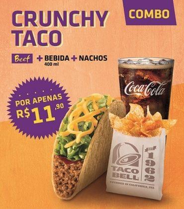 1 CRUNCHY TACO BEEF + 1 Refri 400ML + 1 Porção Nachos por apenas R$ 11,90