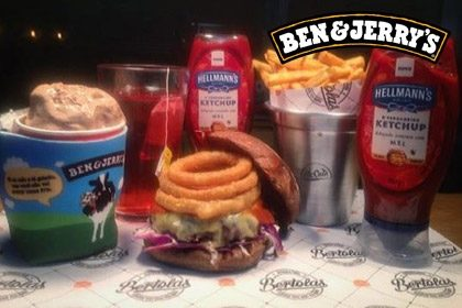 Combo R$ 35: Bertolas Smoked Burger + Drink de Chá Lipton + Batata McCain + Sorvete Ben & Jerry's 458ml