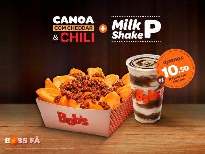 Batata Canoa com Cheddar e Chilli M + Milk Shake P ou Refri M por R$ 10,50