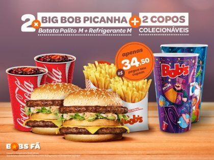 2 Big Bob's Picanha M + 2 Batatas Palito M + 2 Refris M + 2 Copos Exclusivos Rock in Rio por R$ 34,50