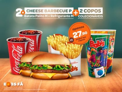 2 Cheese Barbecue P + 2 Batatas Palito M + 2 Refris M + 2 Copos Exclusivos Rock in Rio por R$ 27,90
