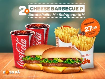 2 Cheese Barbecue P + 2 Batatas Palito M + 2 Refrigerantes M por R$ 27,90