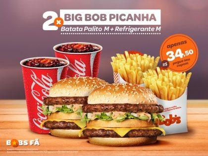 2 Big Bob Picanha M + 2 Batatas Palito M + 2 Refris M por R$34,50