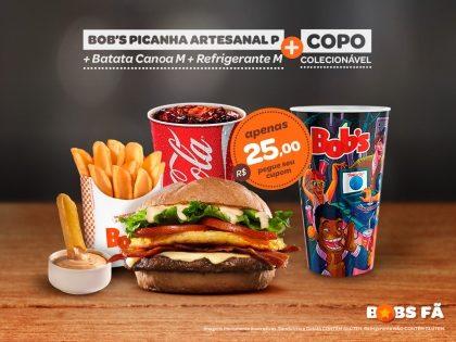 Bob's Picanha Artesanal + Batata Canoa M + Refri M + Copo Exclusivo Rock in Rio por R$ 25,00