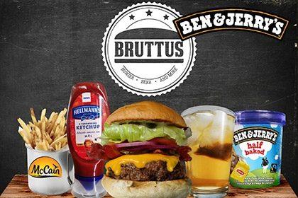 Combo R$ 35: Burger Bruttus + Drink de Chá Lipton + Batata McCain + Sorvete Ben & Jerry's 458ml