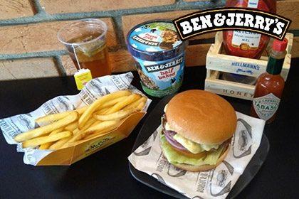 Combo R$ 35: Cheeseburger Simples + Drink de Chá Lipton + Batata McCain + Sorvete Ben & Jerry's 458ml