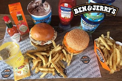 Combo R$ 35: Burger Kills Hunger + Drink de Chá Lipton + Batata McCain + Sorvete Ben & Jerry's 458ml